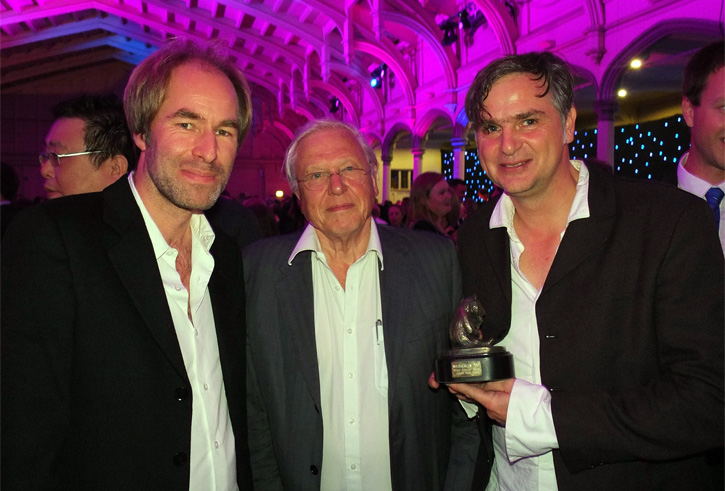 """Animal Behaviour Award"" for JUNGLE BOOK BEAR, 18th October 2012 at the Wildscreen Festival in Bristol / England. Ivo Nörenberg (left) & Oliver Goetzl (right) with Sir David Attenborough (narrator of JUNGLE BOOK BEAR)"